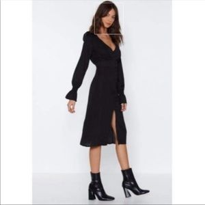 New Nasty Gal Long Sleeve Black Tea Dress